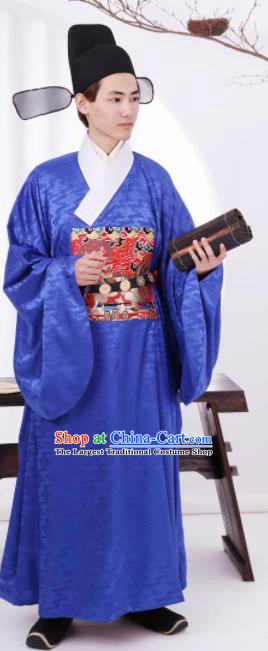 Traditional Chinese Ancient Bridegroom Blue Robe Ming Dynasty Official Historical Costume for Men