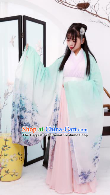 Chinese Ancient Princess Hanfu Dress Jin Dynasty Palace Historical Costume for Women
