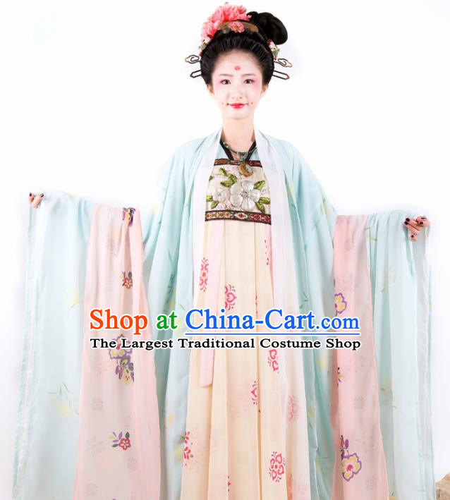Chinese Ancient Palace Hanfu Dress Traditional Tang Dynasty Imperial Consort Embroidered Historical Costume for Women