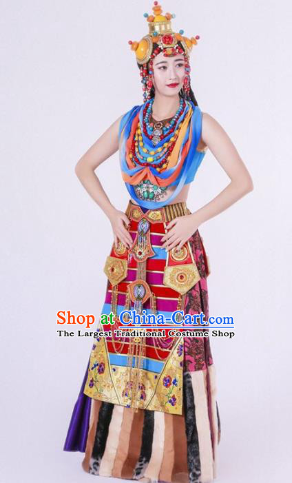 Chinese Zang Nationality Ethnic Dance Costume Traditional Tibetan Minority Dance Dress for Women