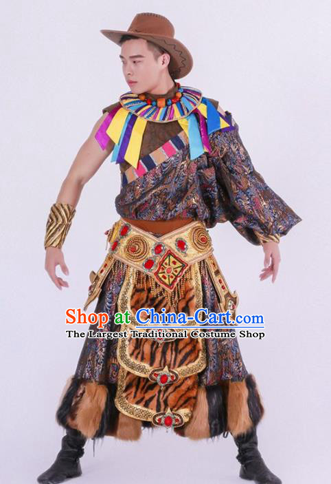 Chinese Zang Nationality Ethnic Dance Costume Traditional Tibetan Minority Dance Robe for Men