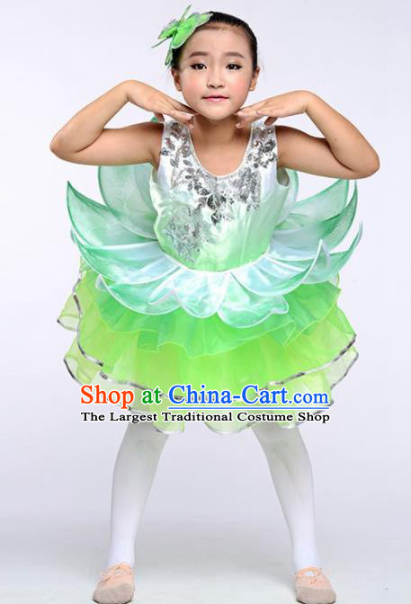 Chinese Modern Dance Stage Performance Costume Opening Dance Green Bubble Dress for Kids