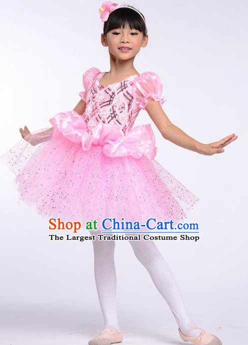 Chinese Modern Dance Stage Performance Costume Opening Dance Pink Bubble Dress for Kids