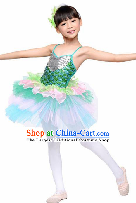 Chinese Modern Dance Stage Performance Costume Ballet Dance Green Bubble Dress for Kids