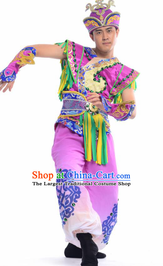 Chinese Mongol Nationality Ethnic Purple Costume Traditional Minority Folk Dance Stage Performance Clothing for Men