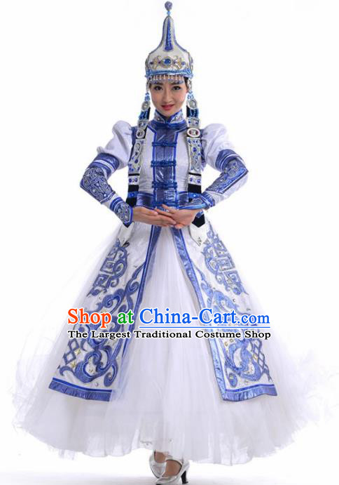 Chinese Traditional Mongol Nationality Ethnic Dance Costume Minority Princess Folk Dance White Dress for Women