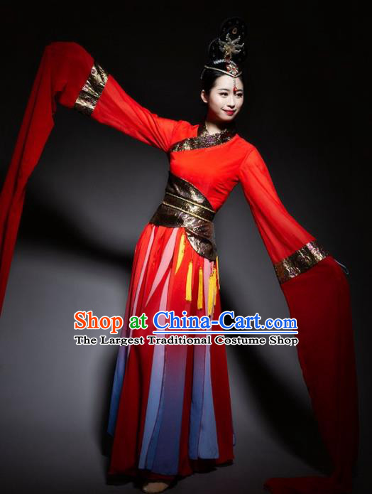 Chinese Classical Dance Red Dress Traditional Dunhuang Flying Apsaras Stage Performance Costume for Women