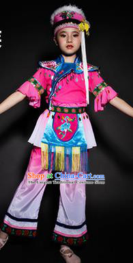Chinese Bai Nationality Stage Performance Costume Traditional Ethnic Minority Rosy Clothing for Kids