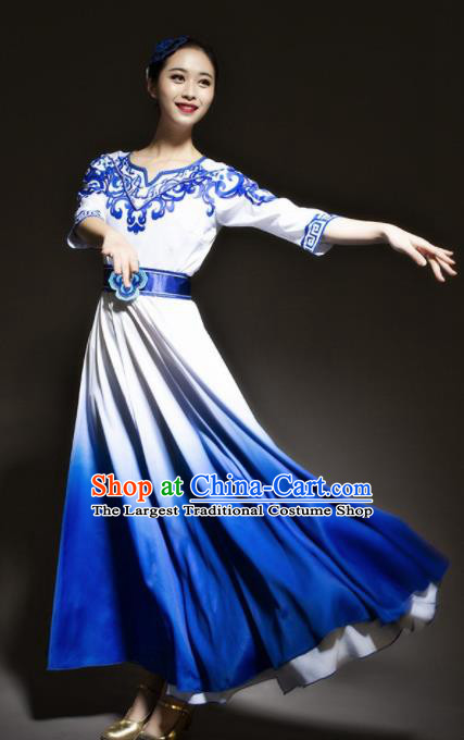 Chinese Modern Dance Stage Costume Traditional Chorus Group Dance Royalblue Dress for Women