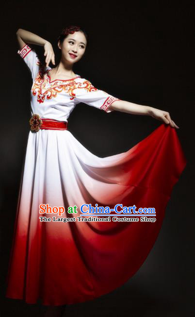 Chinese Modern Dance Stage Costume Traditional Chorus Group Dance Red Dress for Women
