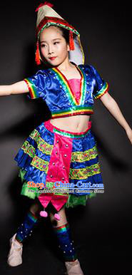 Chinese Jino Nationality Stage Performance Costume Traditional Ethnic Minority Blue Clothing for Kids
