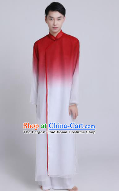 Chinese Traditional Classical Dance Stage Performance Costume Folk Dance Wine Red Clothing for Men