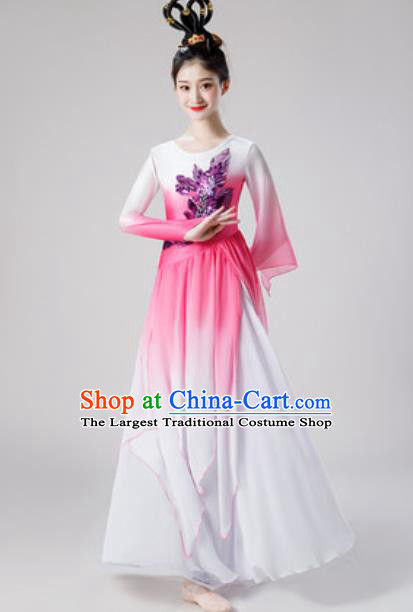 Chinese Traditional Classical Dance Pink Dress Umbrella Dance Lotus Dance Stage Performance Costume for Women