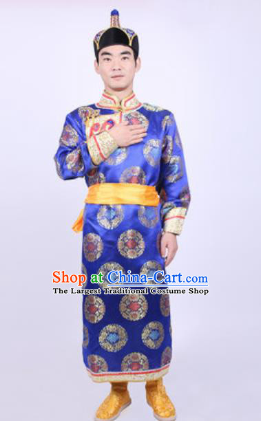Chinese Mongol Nationality Ethnic Costume Traditional Minority Folk Dance Stage Performance Blue Robe for Men