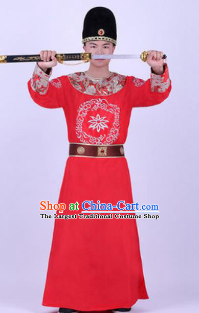 Chinese Traditional Tang Dynasty Swordsman Costume Ancient Imperial Bodyguard Red Robe for Men