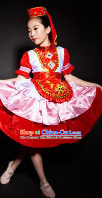 Chinese Tatar Nationality Stage Performance Costume Traditional Ethnic Minority Red Clothing for Kids