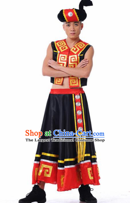 Chinese Yi Nationality Stage Performance Ethnic Dance Costume Traditional Minority Folk Dance Clothing for Men