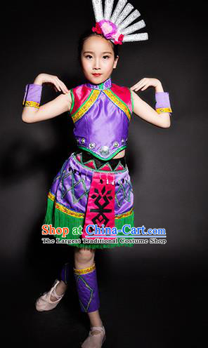 Chinese Li Nationality Ethnic Purple Costume Traditional Minority Folk Dance Stage Performance Clothing for Kids
