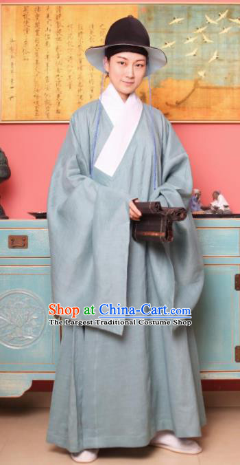 Traditional Chinese Ming Dynasty Historical Costume Ancient Taoist Priest Grey Robe for Men