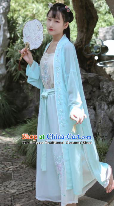 Traditional Chinese Song Dynasty Historical Costume Ancient Young Lady Embroidered Clothing for Women