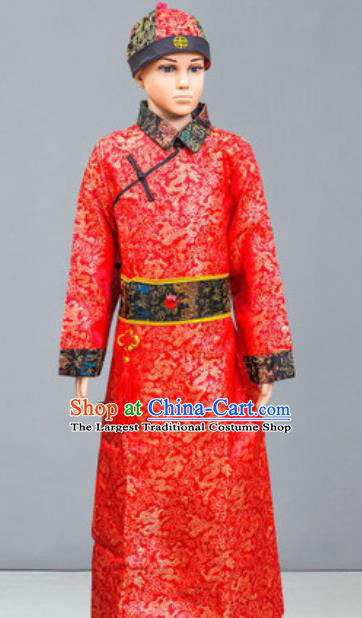 Chinese Manchu Nationality Ethnic Costume Traditional Minority Folk Dance Stage Performance Clothing for Men