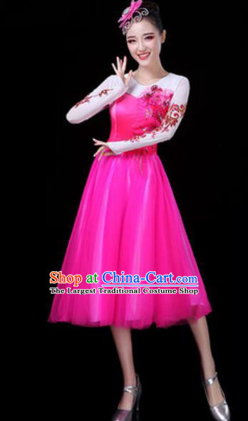 Traditional Chinese Opening Dance Rosy Veil Bubble Dress Modern Dance Stage Performance Costume for Women