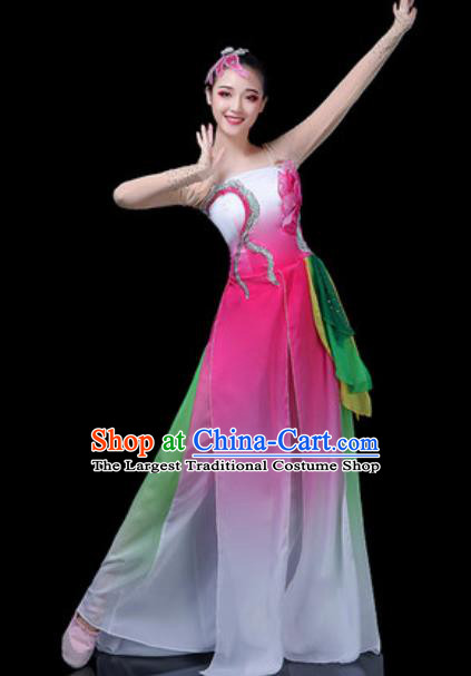 Traditional Chinese Classical Dance Lotus Dance Pink Dress Umbrella Dance Stage Performance Costume for Women