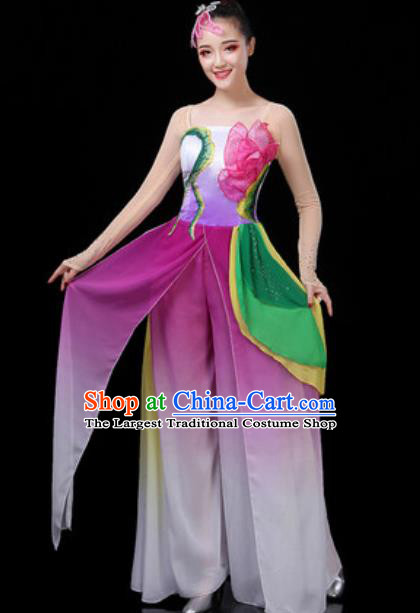 Traditional Chinese Classical Dance Group Dance Purple Dress Umbrella Dance Stage Performance Costume for Women