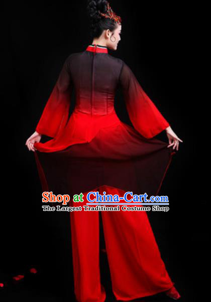 Traditional Chinese Folk Dance Group Dance Red Clothing Yangko Fan Dance Stage Performance Costume for Women