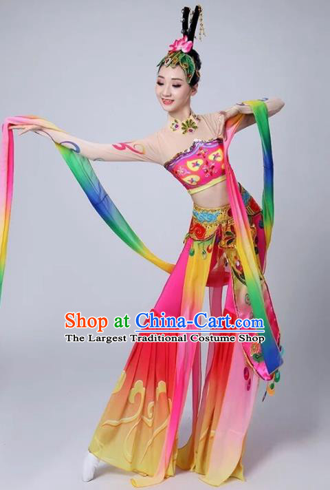Chinese Traditional Classical Dance Rosy Dress Dunhuang Flying Apsaras Stage Performance Costume for Women