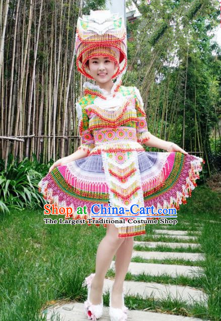 Traditional Chinese Miao Nationality Short Pleated Dress Minority Ethnic Folk Dance Costume and Hat for Women