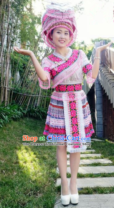 Traditional Chinese Miao Nationality Folk Dance Dress Minority Ethnic Stage Performance Costume for Women