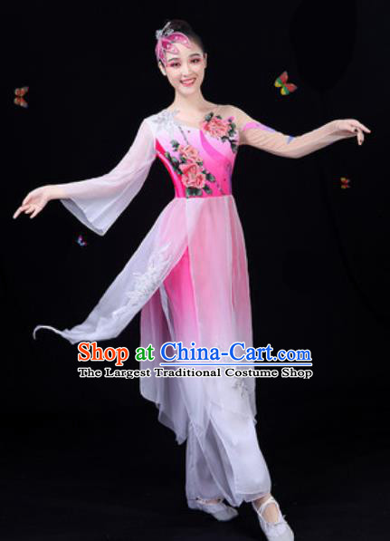 Traditional Chinese Classical Dance Rosy Dress Umbrella Dance Group Dance Stage Performance Costume for Women