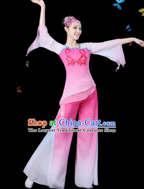 Traditional Chinese Yangko Group Dance Pink Clothing Folk Dance Fan Dance Stage Performance Costume for Women