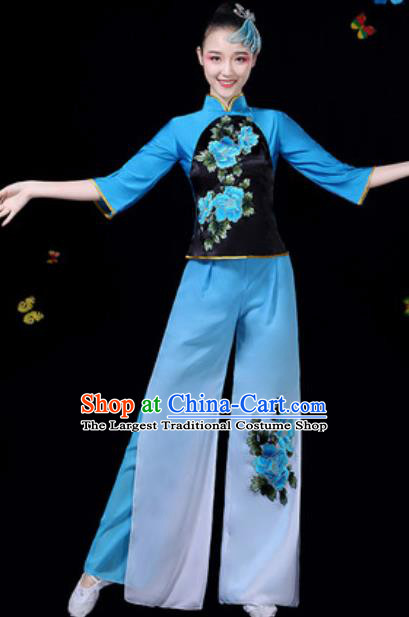 Traditional Chinese Group Dance Yangko Blue Clothing Folk Dance Fan Dance Stage Performance Costume for Women