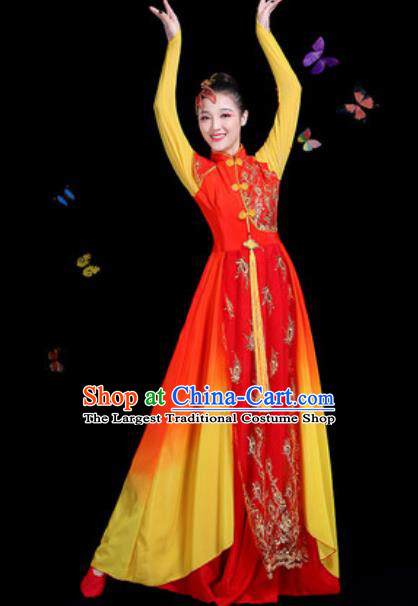 Traditional Chinese Classical Dance Chorus Red Dress Umbrella Dance Group Dance Stage Performance Costume for Women