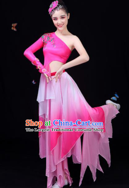 Chinese Traditional Classical Dance Rosy Dress Lotus Dance Group Dance Stage Performance Costume for Women