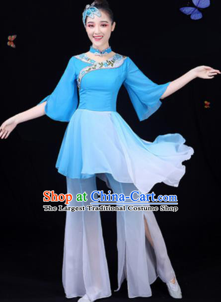 Chinese Traditional Classical Dance Blue Dress Umbrella Dance Group Dance Stage Performance Costume for Women