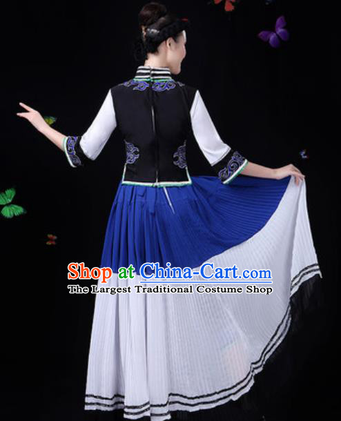Traditional Chinese Minority Ethnic Dress Yi Nationality Folk Dance Stage Performance Costume for Women