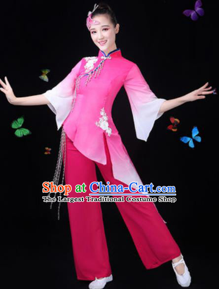 Traditional Chinese Yangko Lotus Dance Pink Clothing Folk Dance Fan Dance Stage Performance Costume for Women