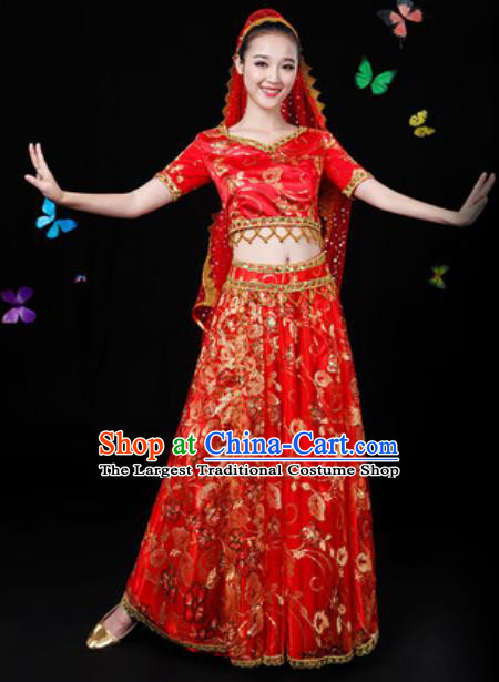 Traditional Chinese Minority Ethnic Red Dress Uyghur Nationality Folk Dance Stage Performance Costume for Women
