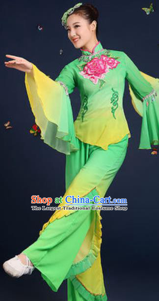 Traditional Chinese Fan Dance Embroidery Peony Green Clothing Folk Dance Yangko Stage Performance Costume for Women