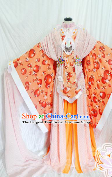 Traditional Chinese Han Dynasty Queen Orange Hanfu Dress Ancient Empress Embroidered Costume for Women
