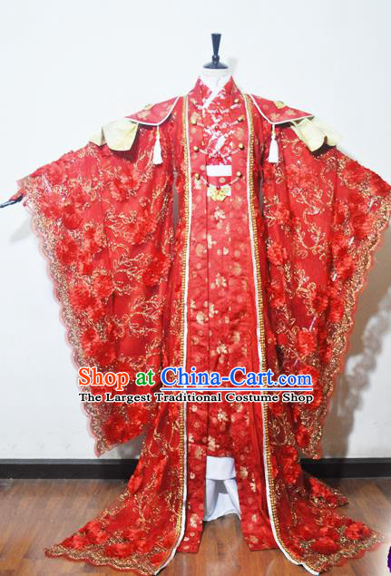 Traditional Chinese Han Dynasty Princess Wedding Red Hanfu Dress Ancient Female Knight Embroidered Costume for Women