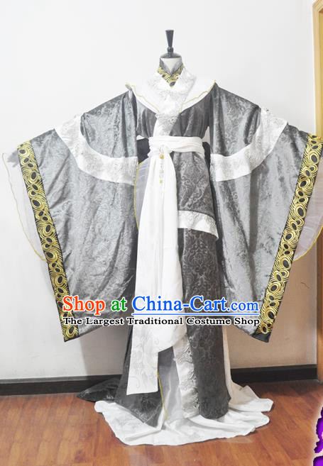 Traditional Chinese Han Dynasty Princess Grey Hanfu Dress Ancient Female Knight Embroidered Costume for Women