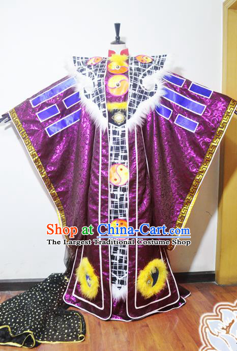 Traditional Chinese Cosplay King Swordsman Purple Hanfu Clothing Ancient Taoist Priest Embroidered Costume for Men