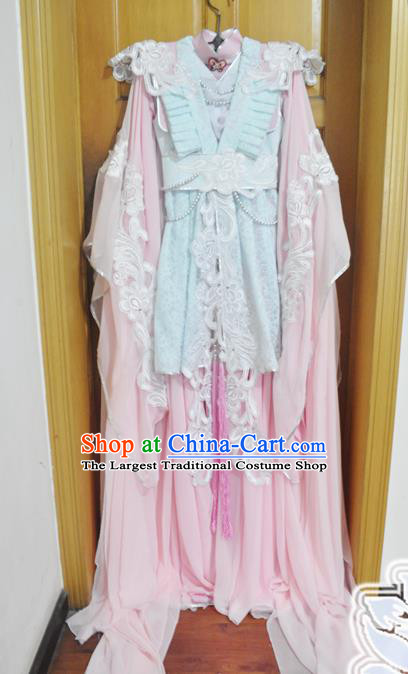 Traditional Chinese Han Dynasty Court Princess Pink Hanfu Dress Ancient Swordswoman Embroidered Costume for Women