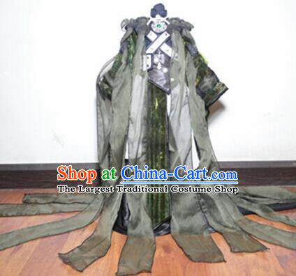 Traditional Chinese Cosplay King Swordsman Black Hanfu Clothing Ancient Taoist Priest Embroidered Costume for Men