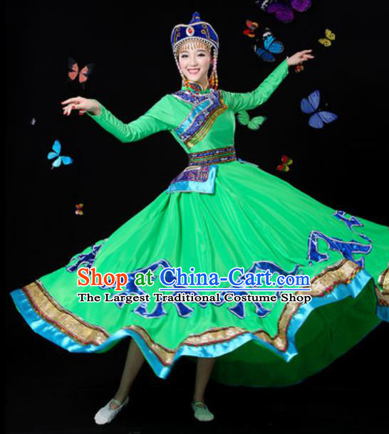 Traditional Chinese Minority Ethnic Green Dress Mongol Nationality Folk Dance Stage Performance Costume for Women