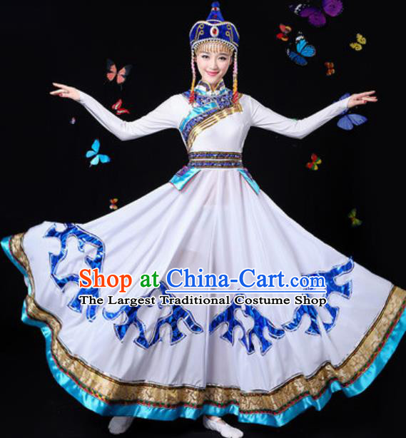 Traditional Chinese Minority Ethnic White Dress Mongol Nationality Folk Dance Stage Performance Costume for Women